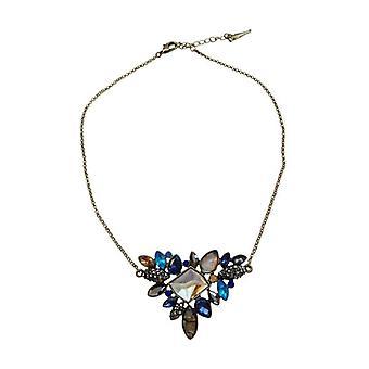 Vintage statement necklace with blue rhinestones