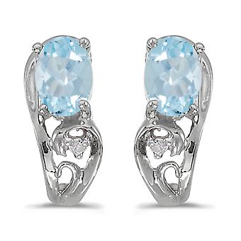10k White Gold Oval Aquamarine And Diamond Earrings