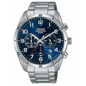 Pulsar Gents 100m Stainless Stell Blue Face Chrono PT3829X1 Watch