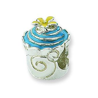 Sterling Silver Polished Antique finish Reflections Blue Enameled Cupcake Bead Charm