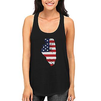 IL State USA Flag Women's Tank Top Illinois American Flag Tanks