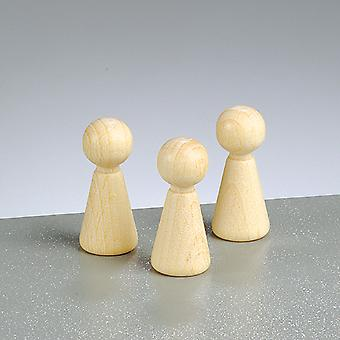 6 Wooden Cone Body Shapes - 36mm | Wooden Shapes for Crafts