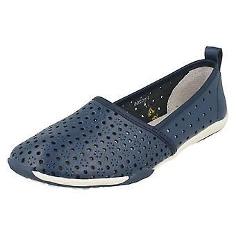 Ladies Down To Earth Flat Comfort Slip On Shoes F80206