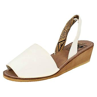 Ladies Down To Earth Mid Wedge Slingback Mule Sandals F10234