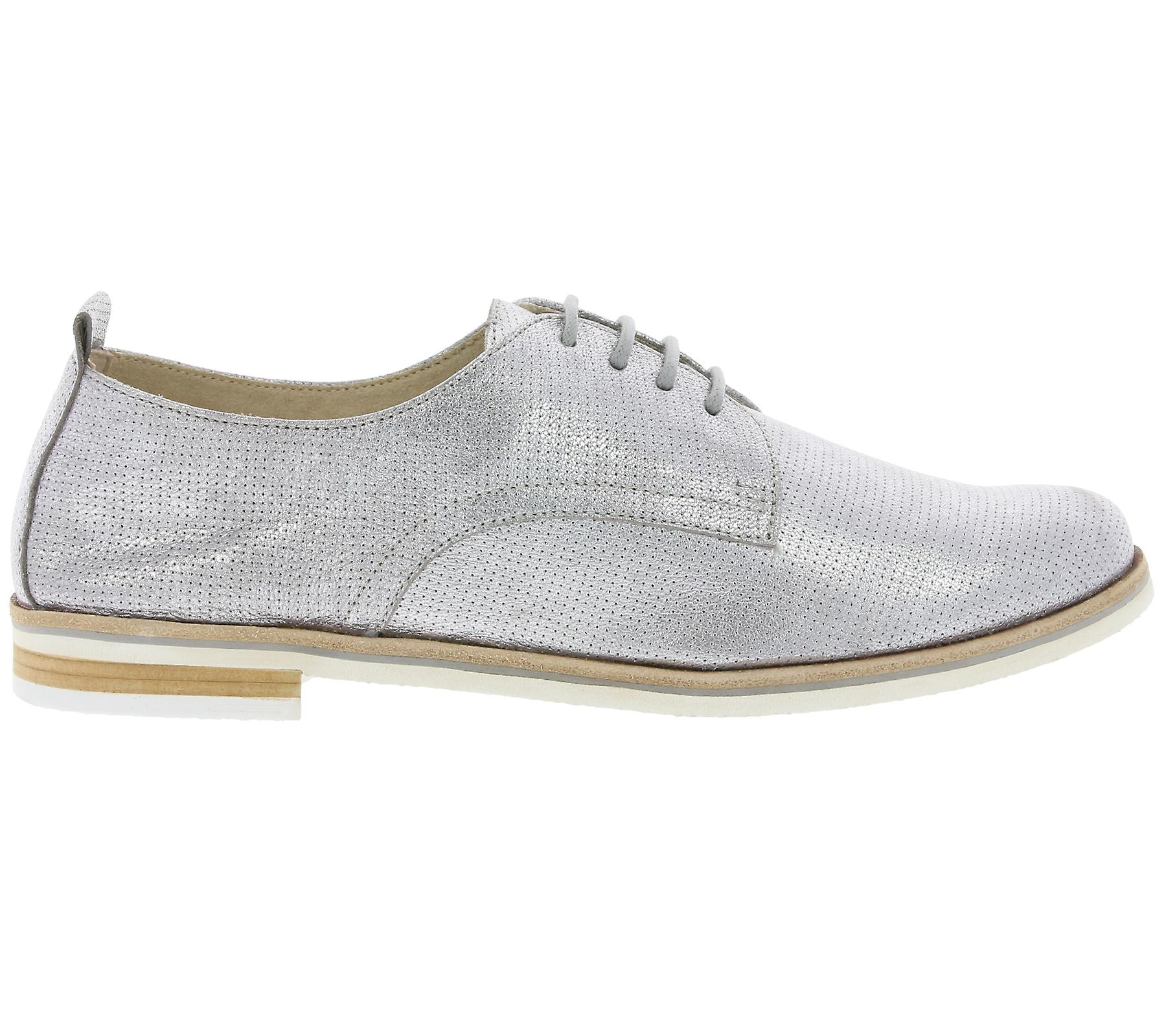 CAPRICE Alba ladies real leather flat shoes silver metal