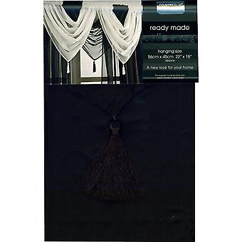 Country Club Single Plain Voile Swag, Black 56cm x 45cm