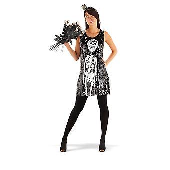Sequin dress skeleton skull costume dress ladies