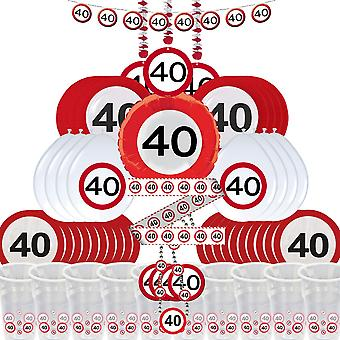 Party box 40 birthday 57-teilig Deco traffic sign party package
