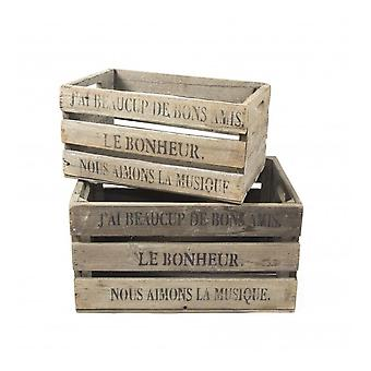 Boutique Camping Set Of 2 Vintage Style Fruit Storage Crates