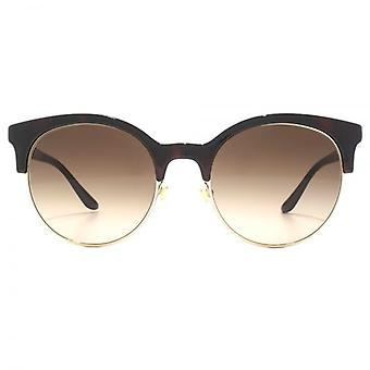 Versace Round Clubmaster Style Sunglasses In Havana Pale Gold