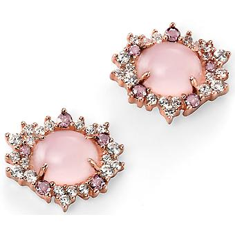 925 Silver Rose Gold Plated And Rose Quartz, Zirconium Earring