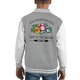 Tyvegods av Shroom Mario sopp Kid's Varsity jakke
