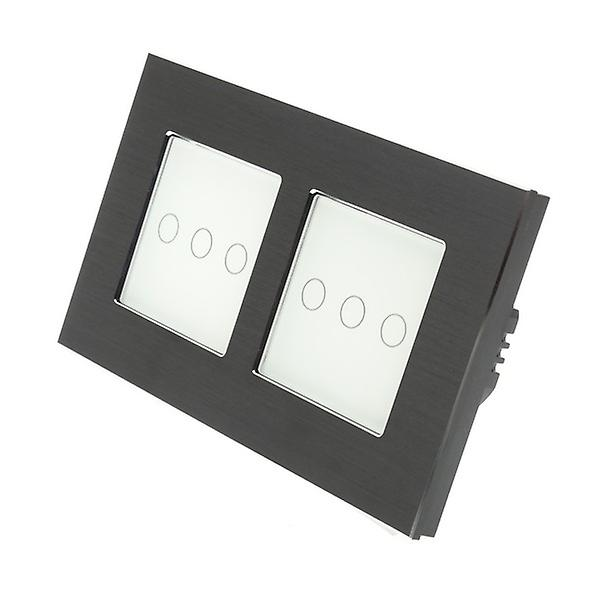 I LumoS noir Brushed Aluminium Double Frame 6 Gang 1 Way WIFI 4G Remote Touch LED lumière Switch blanc Insert