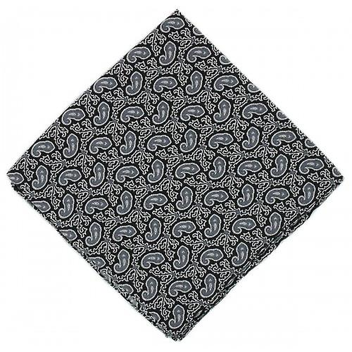 Michelsons of London Small Paisley Silk Handkerchief - Black