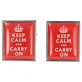 Zennor Keep Calm and Carry On Cufflinks - Red