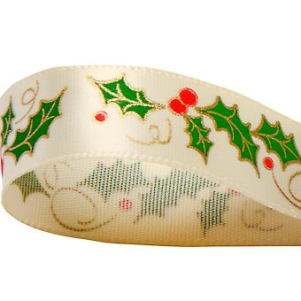 15mm Satin Christmas Printed Holly Ribbon for Crafts - 10m