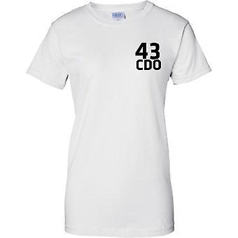 Licensed MOD -  Royal Marines 43 Cdo - Text - Ladies Chest Design T-Shirt
