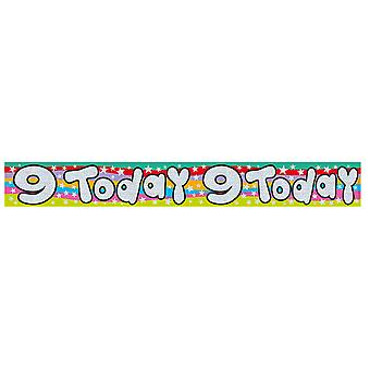 Expression Factory Childrens/Kids Holographic 9 Today Foil Birthday Banner