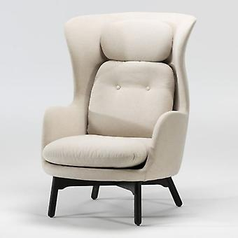 Thai Natura Black Wood Chair and Beige Fabric
