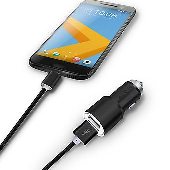 ONX3 (Black) Quick Charge Dual Port USB Full Aluminium Cased Car Charger Adaptor (3.1A/24W) With Break Glass Safety Hammer & 1 Meter Micro-USB Nylon Braded Data Cable For Nokia 150