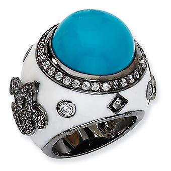 Black-plated Sterling Silver Enamel Simulated Turquoise and Cubic Zirconia Ring - Ring Size: 6 to 8