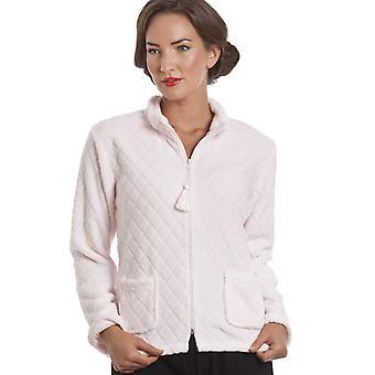Camille Light Pink Supersoft Zip Up Bed Jacket