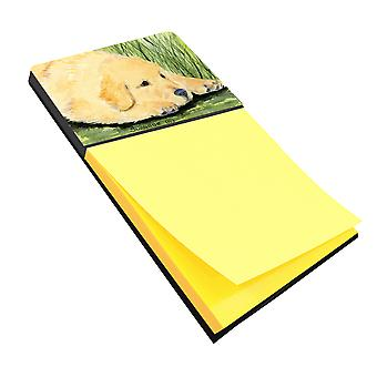 Golden Retriever Refiillable notitie houder of Postit Opmerking Dispenser