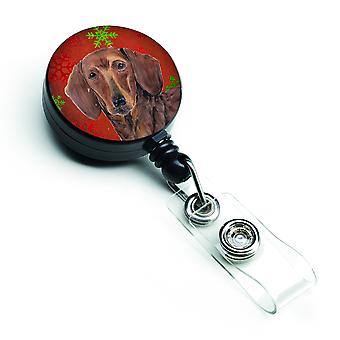 Dachshund Red and Green Snowflakes Holiday Christmas Retractable Badge Reel