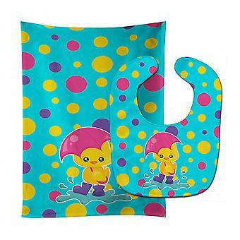 Duck in the Rain on Polkadots Baby Bib & Burp Cloth