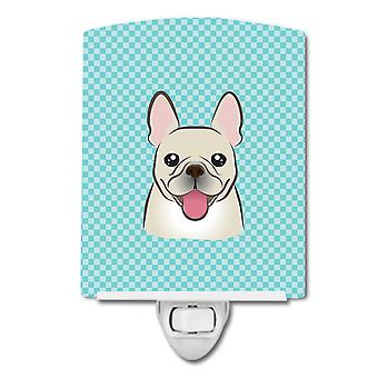 Checkerboard Blue French Bulldog Ceramic Night Light