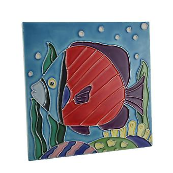 Tropical Fish Ceramic Tile Table Decor or Wall Hanging 8.5 Inch