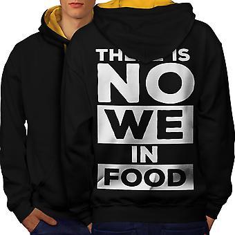 No We In Food Joke Funny Men Black (Gold Hood)Contrast Hoodie Back | Wellcoda