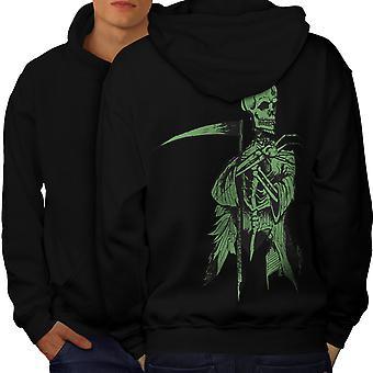 Grim Skeleton Death Men BlackHoodie Back   Wellcoda