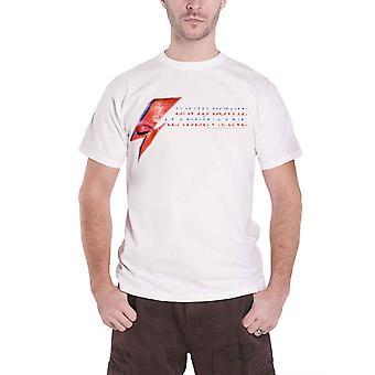 David Bowie T Shirt Aladdin Sane Eye Flash Band Logo Official Mens New White