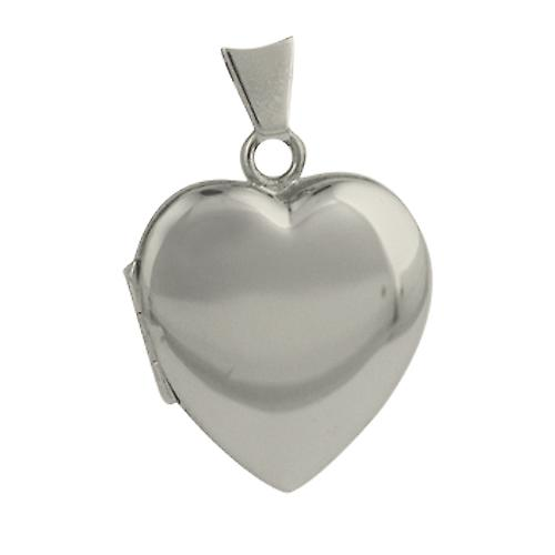 9ct White Gold 21x19mm plain heart shaped Locket