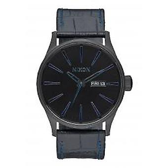 Nixon The Sentry Leather Navy Gator (A1052153)