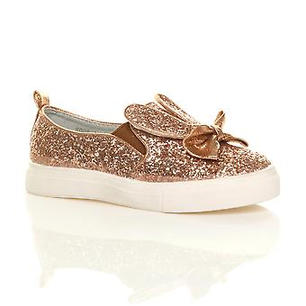 Ajvani girls flat glitter bow bunny ears slip on plimsolls pumps