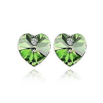Corazón piedra verde cristal Stud pendientes BG1634