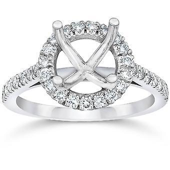1/3CT Diamond Halo Engagement Ring Setting 14K White Gold
