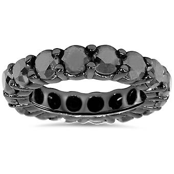 5ct Black Diamond Eternity Ring 14K Black Gold
