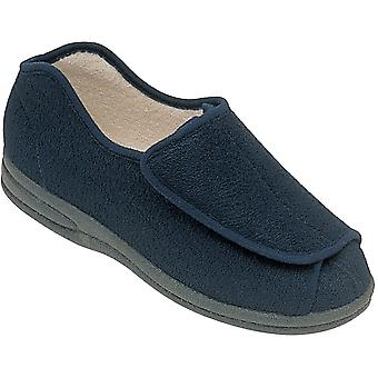 Mirak Mens Fife Touch bevestiging textiel Bootie Slipper Navy