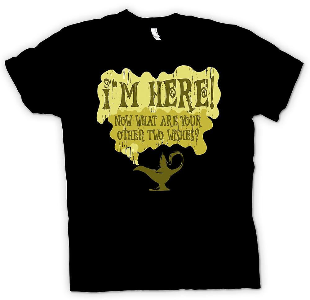 Mens T-shirt - Genie - Im Here, Whats Your Other Two Wishes