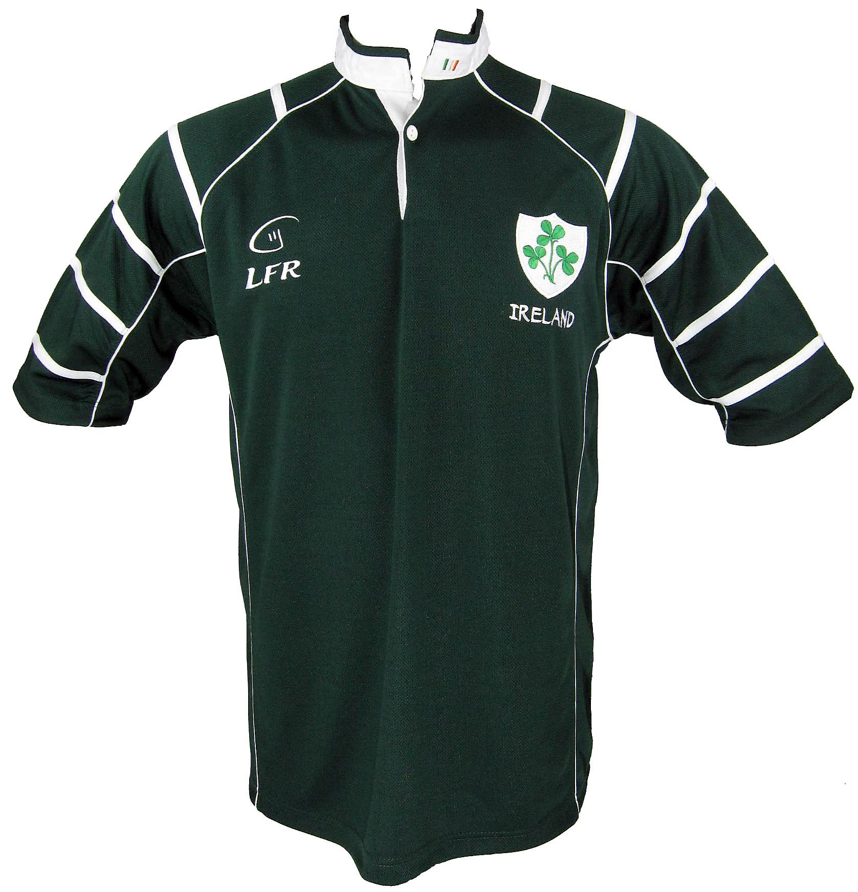 Ireland Shamrock Dark Green Breathable Rugby Shirt by Live for Rugby Sizes XS - 3XL