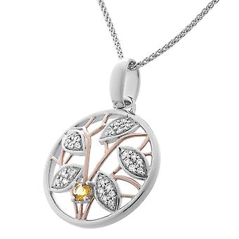 Orphelia plata 925 cadena con colgante y Rosegold plateado citrino ZH-7090/1