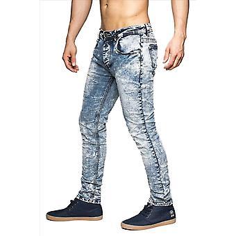 Men's Denim stretch jeans pants slim fit vintage bleached 5-Pocket style Knitter