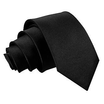 Plaine de Black Satin régulier cravate pour les garçons