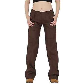 Lightweight Cotton Wide Leg Cargo Trousers - Brown