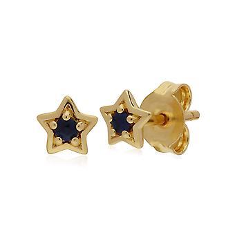 Gemondo 9ct желтое золото Сапфир один камень звезды Стад Серьги