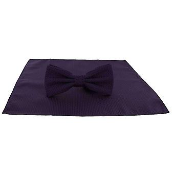 Michelsons of London Semi Plain Bow Tie and Pocket Square Set - Purple