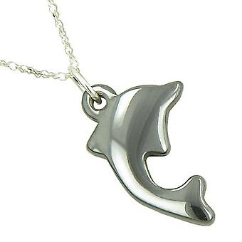 Lucky 925 Silver And Shiny Hematite Dolphin Pendant Necklace